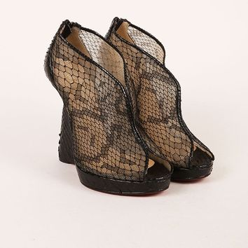 KUYOU Black Python Leather and Lace  Janet  Wedge Booties