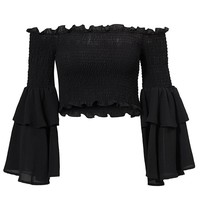 Always A Star Black Long Bell Sleeve Smocked Off The Shoulder Crop Top - 4 Colors Available