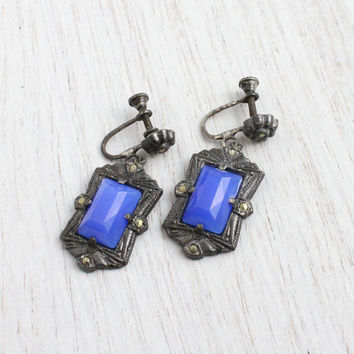 Antique Art Deco Blue Glass and Marcasite Screw Back Earrings - Vintage Clip On 1930s Dark Silver Tone Metal / Faceted Blue Centers