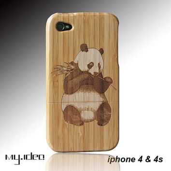 SALE30%OFF: mymade natural bamboo iphone 4 4s case, Panda bamboo iphone 4 4s case, wood case, iphone charm, gift, iphone accessories