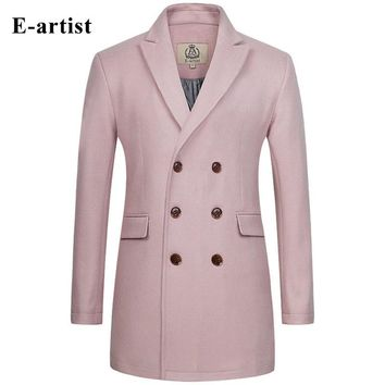 2016 Men's Long Double Breasted Wool Trench Coat Male Warm Winter Jackets Blue And Pink Color Slim Peacoat Plus Size 5XL