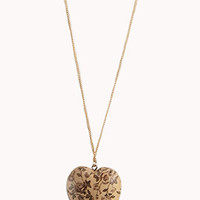 Floral Wooden Heart Necklace | FOREVER 21 - 1072700831