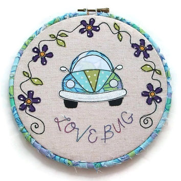 VW Beetle Hoop Art - 7.5 inch diameter - Love Bug