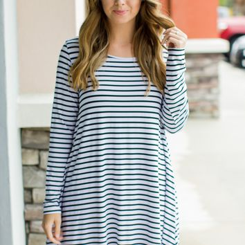 PIKO Stripe Sensation Dress - White