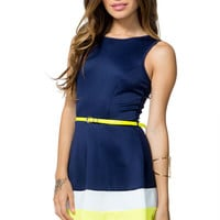 Colorblock Hem Flare Dress