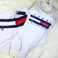 Tommy New fashion letter stripe print one piece bikini and shorts women White