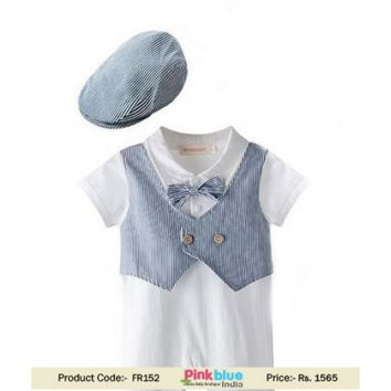 Shop Newborn Baby Boy Formal Waistcoat Tuxedo Romper Suit and Cap Outfit