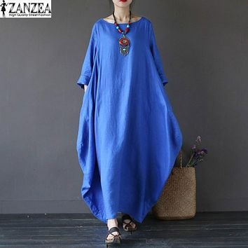 L-5XL ZANZEA Retro Womens Round Neck 3/4 Sleeve Tunic Baggy Solid Casual Party Beach Shirt Dress Kaftan Robe Maxi Long Vestido