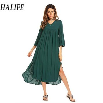 HALIFE Women V-Neck Flare Sleeve Maxi Long Tent Dress Split Hem Bohemian Beach Loose Casual Green Dress Robe Femme Summer 1130