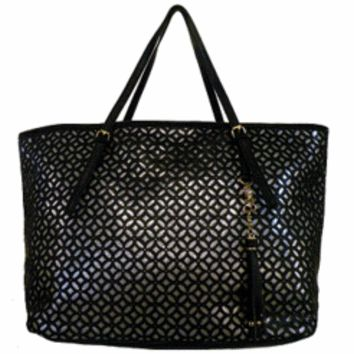 Laser Cut Large Tote: Laser Cut Large Tote-Black