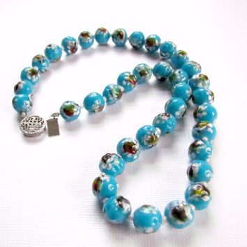 Venetian Murano Necklace Turquoise Blue Sterling Clasp