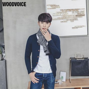 Woodvoice 2017 Knitted Cardigan Sweaters Men's Slim Fit V-neck Brand Clothing Solid Colors Sweater Knitwear Five Colors Aviable
