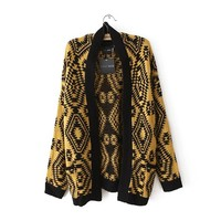 Magic Pieces Woman's Geometry Pattern Cardigan 080876 Color Black and Yellow Size S
