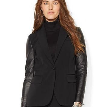 Lauren Ralph Lauren Leather Sleeved Jacket