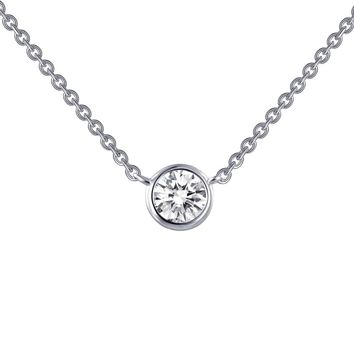 Lafonn Monte Carlo Sterling Silver Platinum Plated Lassire Simulated Diamond Necklace (0.46 CTTW)