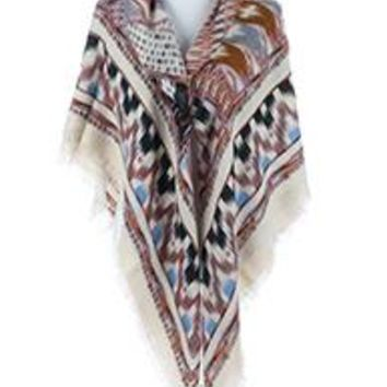 beautiful TRIBAL PATTERN SOFT YARN BLANKET  SCARF Wrap Poncho Turquoise  Multi One Size