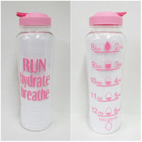 Run Hydrate Breathe  * 33oz water bottle * Personalized Water Bottle * BPA free