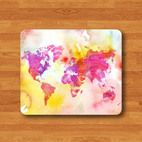 Watercolor World Map Atlas Funny Colorful Mouse Pad Color Drop MousePad Art Painting Design Round Mouse Pad Customized Boss Gift Desk Deco