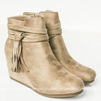 Taupe Tassel Wedge Booties