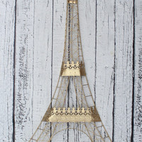 Large Gold Eiffel Tower Wall Hanging // Paris Chic Wall Hanging // Eiffel Tower Decor // Paris Decor // Gold Decor / Bedroom Decor / Collage