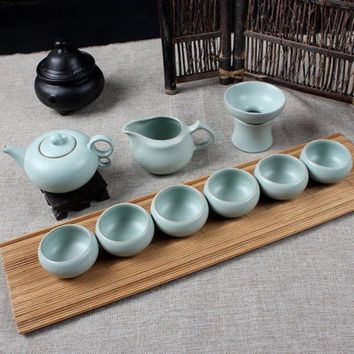 DCCKJG2 Drinkware 9pcs Celadon noble China KungFu Tea Sets Porcelain Tea Pot Exquisite Tea cup Handmade Ceramics High Quality