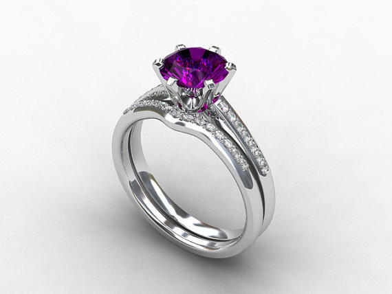 Engagement ring set amethyst ring from torkkelijewellery on for Amethyst diamond wedding ring set