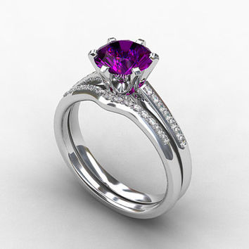 engagement ring set, Amethyst ring, Diamond band, wedding ring set, white gold, pave, solitaire, diamond engagement, amethyst