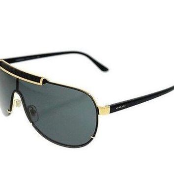 VONEA7H Versace Men's Black Gold Shield Sunglasses Metal Frame Authentic Italy