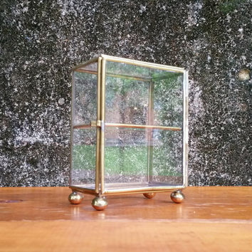 Vintage Brass and Glass Curio Cabinet Miniatures Display Case