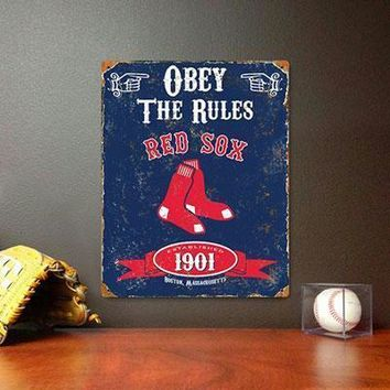 Red Sox Embossed Metal Sign
