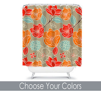 Shower Curtain CUSTOM You Choose Colors Red Beige Orange Aqua Flower Burst Dahlia Floral Pattern Bathroom Bath Polyester Made in the USA