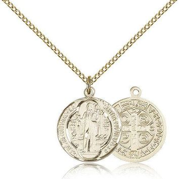 "Saint Benedict Medal For Women - Gold Filled Necklace On 18"" Chain - 30 Day M... 617759792119"