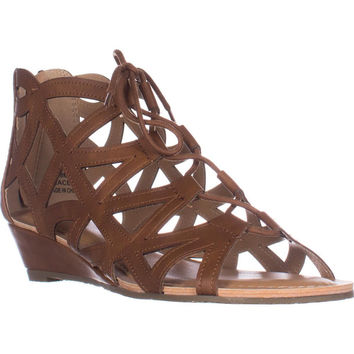 Esprit Cacey Geometric Cutout Lace Up Wedge Ankle Booties, Cognac, 8 US