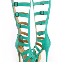 Green Peep Toe Gladiator Heels Faux Leather