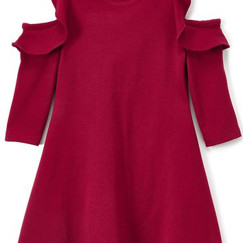 Solid Ruffle Cold Shoulder Burgundy Casual Dress Girls 4-14