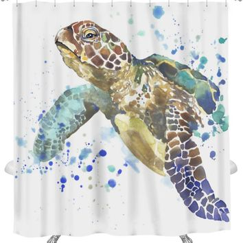 Shower Curtain, Image Of Sea Turtle Tshirt Graphics Sea Turtle With Splash Watercolor D Unusual, GN20974