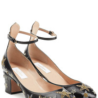 Valentino - Star Embellished Leather Tan-Go Pumps