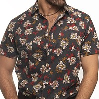 Grey Lush Floral Print Short Sleeve Shirt - Vince Size S Available