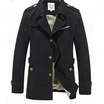 Men Casual Men Jackets And Coats Fashion Solid Cotton Overcoat New Trench Coat Jacket