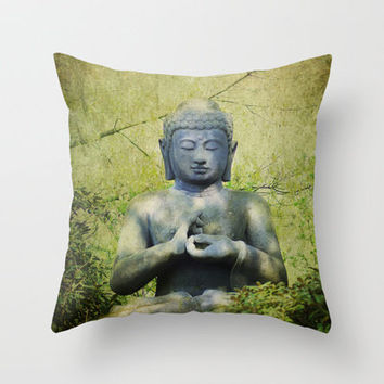 Big Buddha Throw Pillow by Tanja Riedel