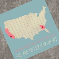 Personalized USA art print 8 x 10 in