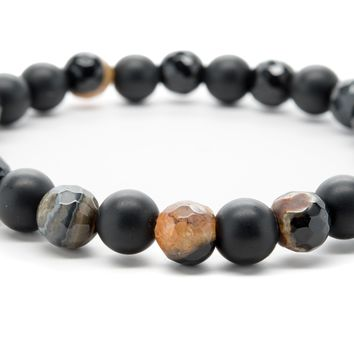 Black Onyx and Brown Agate Gemstones Beaded Bracelet for Men and Women