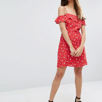 ASOS Cold Shoulder Sundress in Ditsy Floral at asos.com