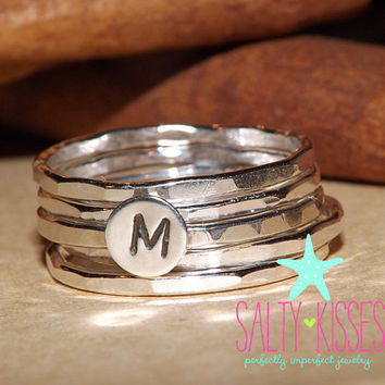 Sterling silver stacking ring set initial letter set of 5 mother's day jewelry