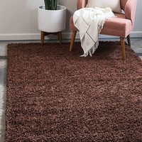 8000 Chocolate Brown Solid Color Shag Area Rugs