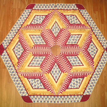 Christmas Tree Skirt Quilt  Lighthouse  Reversible  73