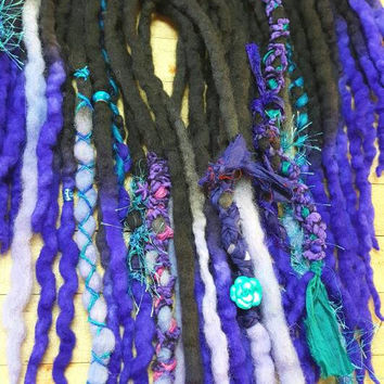21 Fantasy Synthetic Dreadlock Extensions Dread Hair Wraps & Bead Custom READY TO SHIP set