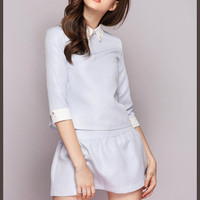 Blue Pointed Flat Collar Half Sleeve Top with Pleated Mini Skirt