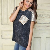GREY SEQUIN TOP