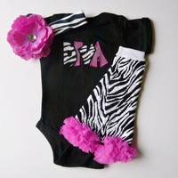 Diva Zebra Pink Onesuit Leg Warmers Personalized Beanie Hat Baby Girl Gift Set